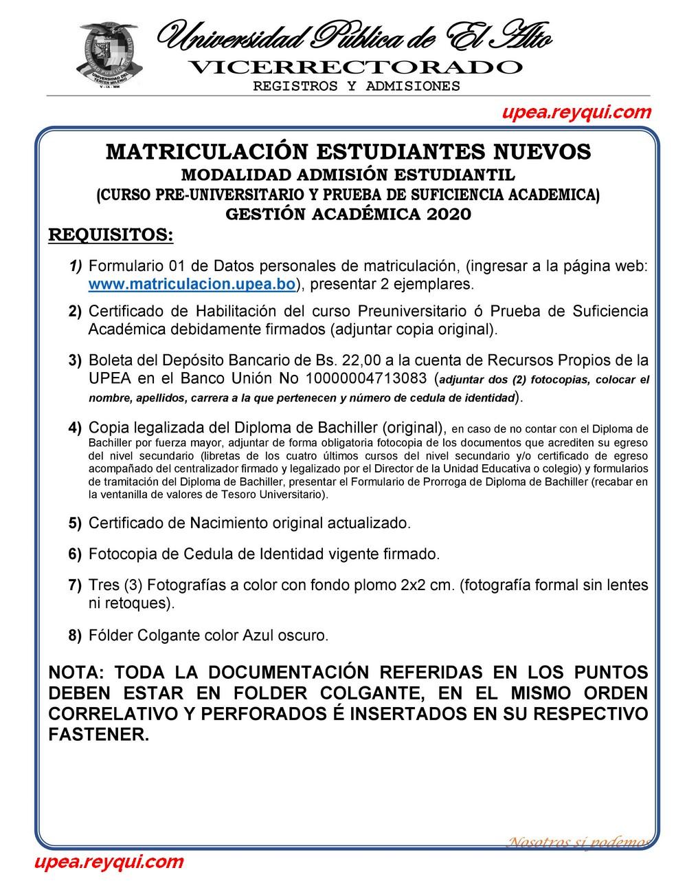 Matriculación UPEA 2020